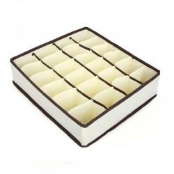 Organizator pliabil pentru sertare 40x30 cm, 24 compartimente pentru sosete, material textil