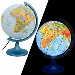 Glob pamantesc iluminat 25 cm, harta politica si fizica, cartografie detaliata
