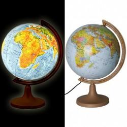 Glob geografic iluminat 2 in 1, harta politica si fizica, diametru 32 cm