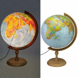 Glob pamantesc iluminat 32 cm, harta politica si fizica, suport lemn, fus orar