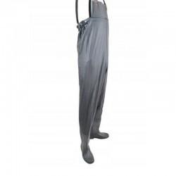 Salopeta pentru pescuit cu cizme, talpa anti-derapanta, marime 40-46, gri