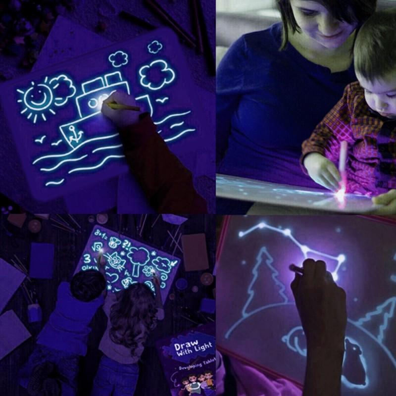 Tablita rescriptibila fosforescenta, lumineaza albastru, marker UV, interactiva