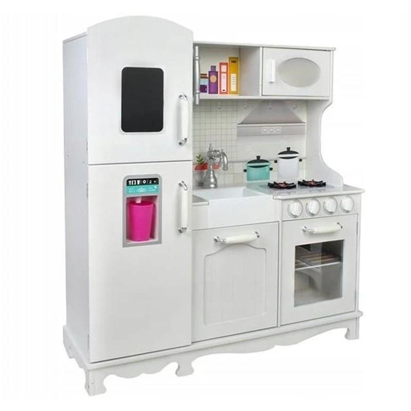 Bucatarie pentru copii, lemn alb, chiuveta, aragaz, frigider, rafturi, 91x102.5x30 cm
