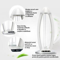 Lampa bactericida UVC 38W, temporizator, touchscreen, telecomanda, sterilizare si dezinfectare 40 mp, Cnlight