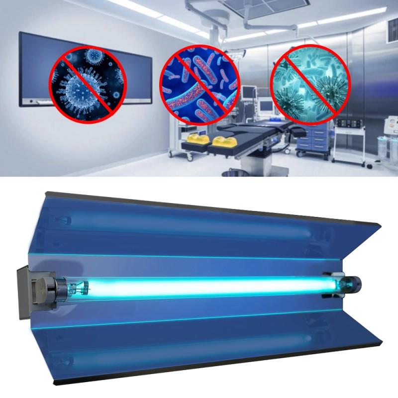 Lampa bactericida orientabila, tub UVC 15W, reflector, fixare perete, IP20