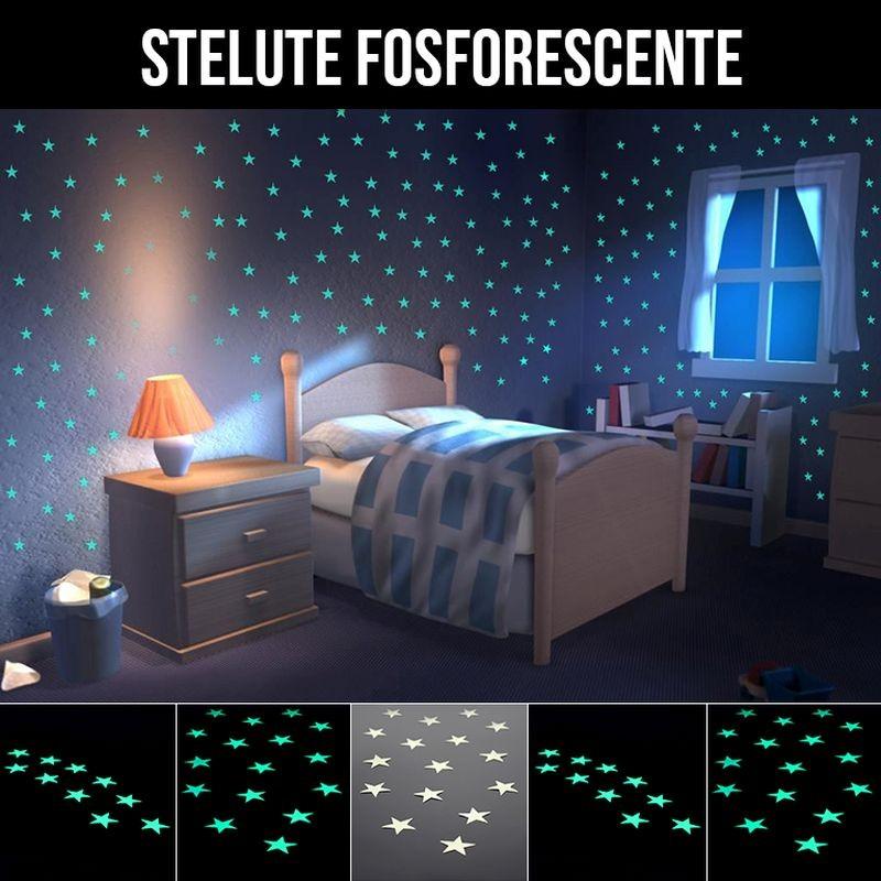 Set 10 Stelute glow autoadezive fosforescente aqua, vinil premium, dimensiune 3 cm, lumineaza intens