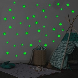 Set 10 Stelute glow autoadezive fosforescente, lumineaza verde, vinil premium, 3 cm