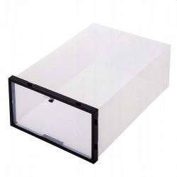 Set 10 cutii depozitare papuci, transparente, clapeta pentru inchidere, 21x31x12cm
