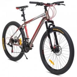 Bicicleta Mountain Bike MalTrack Sport, roata 26 inch, 21 viteze Shimano, cadru otel 18 inch, frane disc, gri-rosu