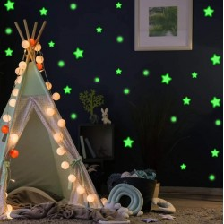 Set 75 stickere fosforescente decorative, stele, buline, lumineaza verde, dimensiuni 1-4 cm