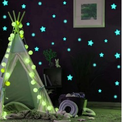 Stickere decorative fosforescente, 75 stelute si buline, lumineaza turcoaz, dimensiuni 1-4 cm, autoadezive
