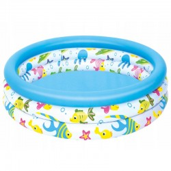 Piscina gonflabila pentru copii, diametru 100 cm, 3 inele, forma rotunda, capacitate 101l