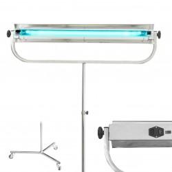 Lampa bactericida UVC 55W, structura integrala inox, germicidala portabila, stativ pe roti, tub Philips, comutator