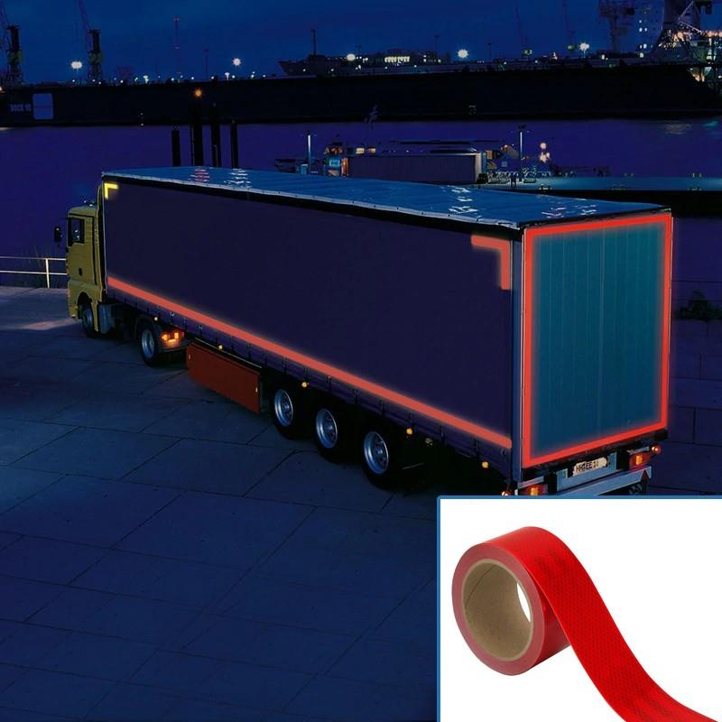 Banda reflectorizanta autoadeziva, pentru suprafete flexibile, lungime 1 m, culoare rosie