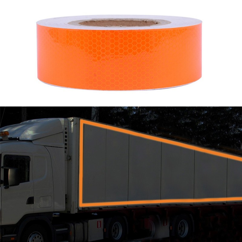Banda reflectorizanta flexibila portocalie, autoadeziva, 5 cm x 1m, rezistenta la apa