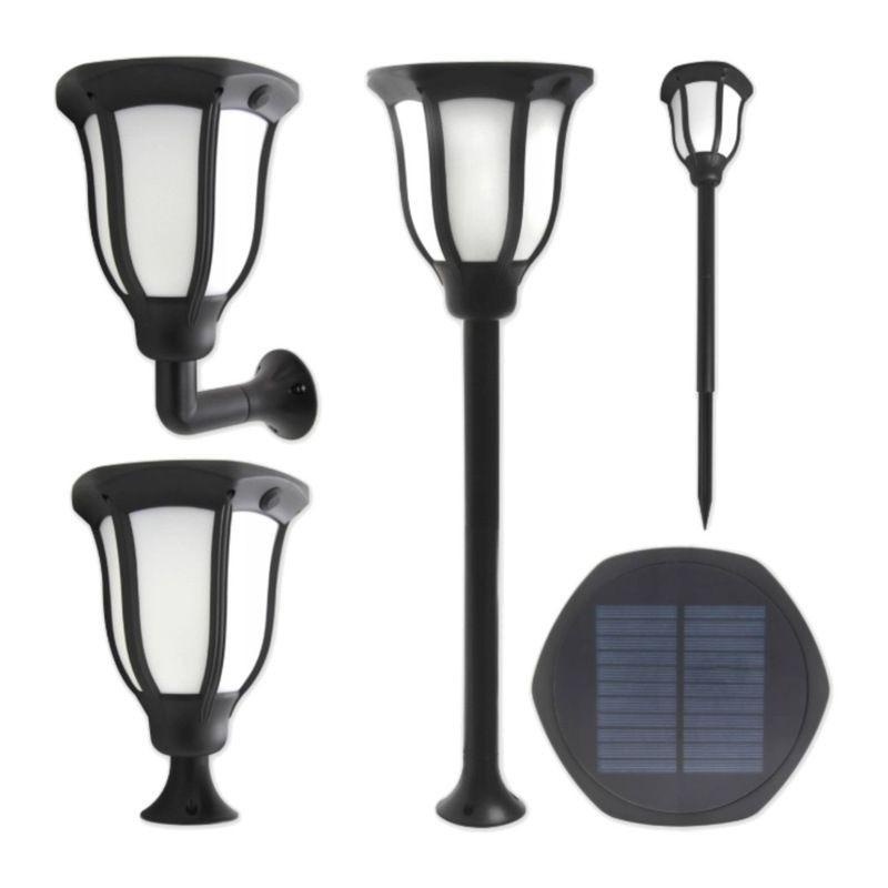Felinar solar 1W, 10 LED-uri SMD, aplica 60 lm 4 moduri utilizare, suport tarus, alb rece, IP54