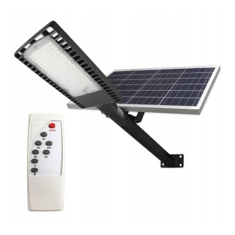 Lampa Solara Iluminat Stradal 120 Led Uri 120w Panou Solar 40w Control Telecomanda 30000mah Timer 9500lm Ip65