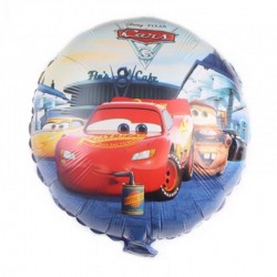 Balon Fulger McQueen Cars, folie metalizata, forma rotunda 45 cm, multicolor