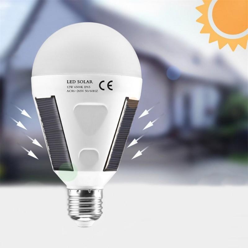 Bec solar portabil 12W, 26 LED-uri SMD, E27, 960 lumeni, carlig suspendare, camping, 700mAh, IP65