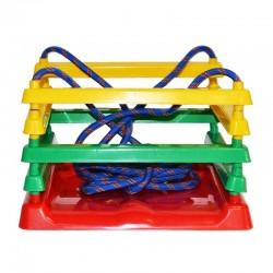 Leagan pentru copii, 4 laturi, corzi 110 cm, 36x32x22.7cm, multicolor