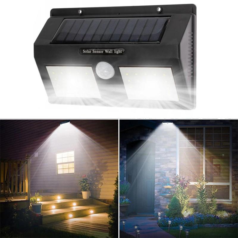 Aplica solara super luminoasa 40 LED-uri SMD 5W, senzor miscare 120 grade, 2400mAh, alb rece, IP65