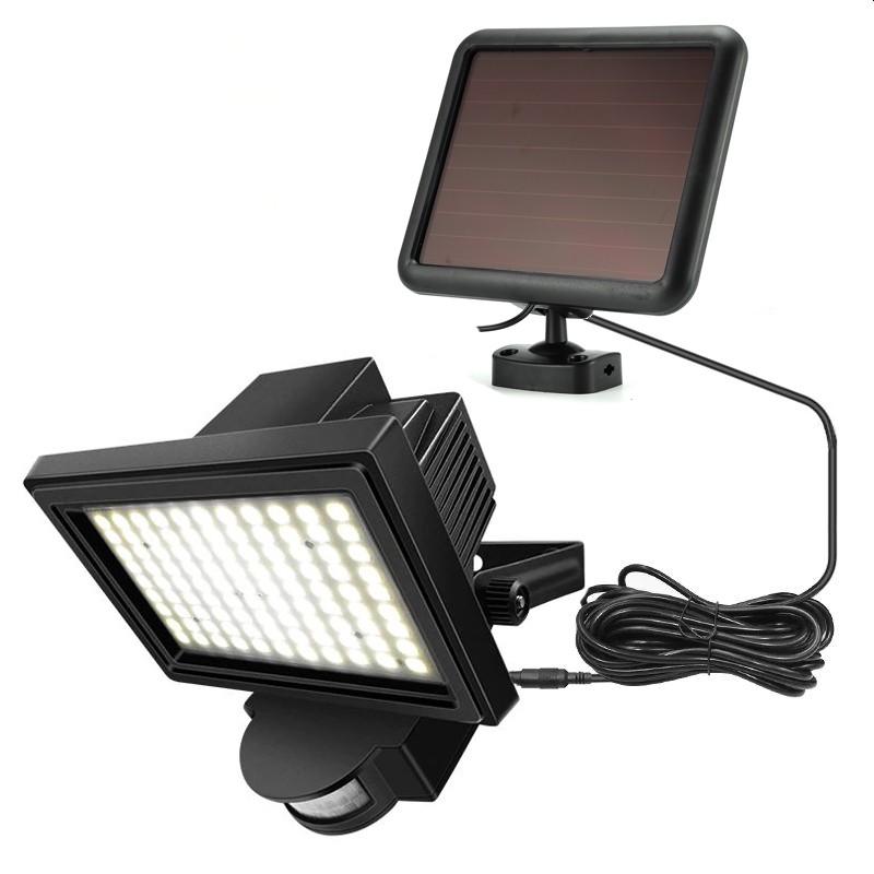 Proiector solar 15W, 60 LED-uri SMD, 2 moduri, senzor miscare, alb rece, IP65