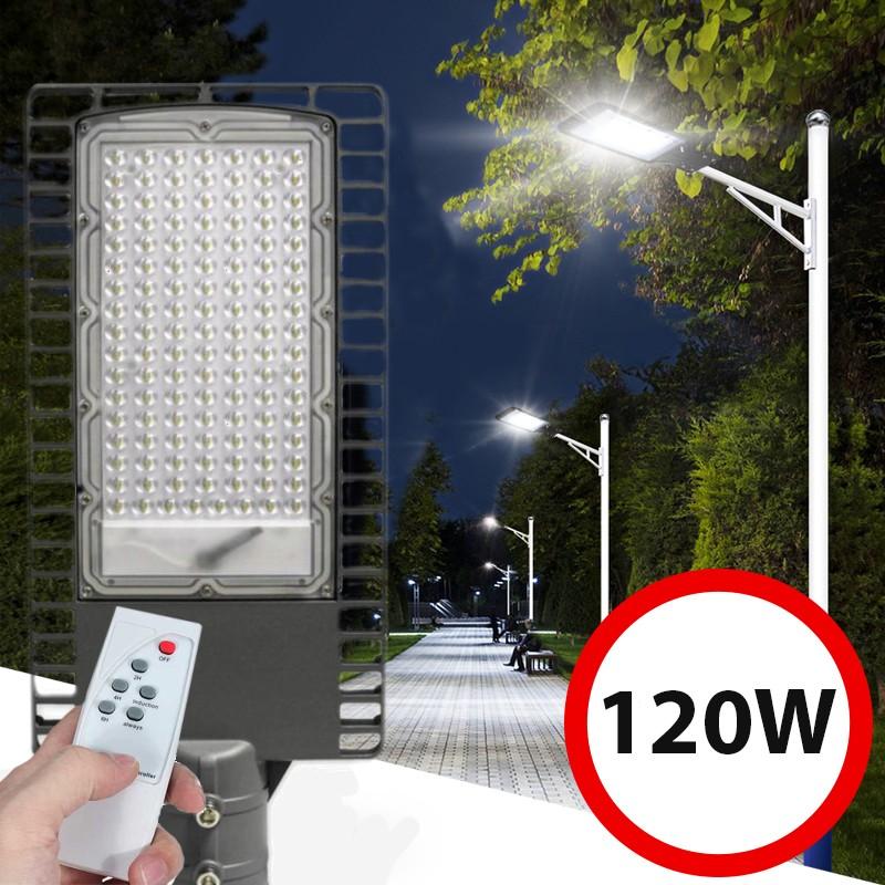 Lampa solara iluminat stradal 120 LED-uri 120W, panou solar 40W, control telecomanda, 30000mAh, timer, 9500lm, IP65