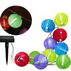 Ghirlanda lampioane solare LED, lungime 3 m, acumulator 300 mAh, exterior, multicolora