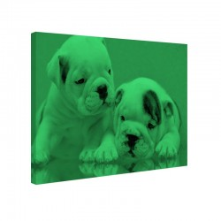Tablou canvas fosforescent Bulldog Puppies, 52x90 cm