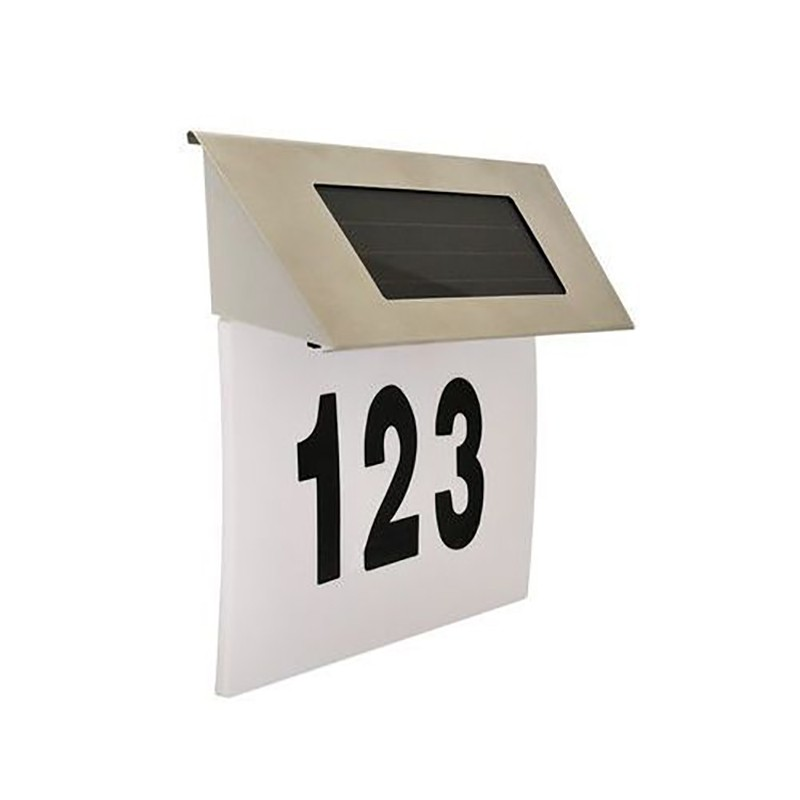 Numar casa iluminat LED SMD 5W, incarcare solara, 500 lm, alb rece, 18.5x19 cm, carcasa metal, IP44