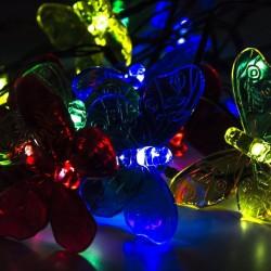 Ghirlanda solara decorativa, 20 fluturi iluminati LED, lungime 4 m, IP44, 2 moduri iluminare
