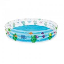 Piscina gonflabila rotunda, diametru 183 cm, capacitate 480l, 3 inele, imprimeu vesel, pentru copii