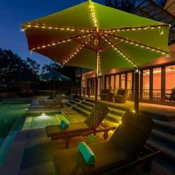 Ghirlanda solara umbrela, 72 LED-uri alb rece, 8 segmente cu lungime 1.45 m, 2 moduri iluminare, IP44, exterior