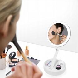 Oglinda cosmetica cu 2 fete, iluminata LED, zoom 10X, brat pliabil, organizator accesorii
