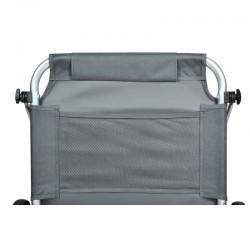Sezlong pliabil cu paravan protectie solara, 2 roti, tetiera, 115x62cm, gri