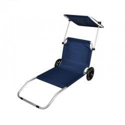 Sezlong pliabil cu umbrela, portabil pe roti, cadru aluminiu, tetiera, 115x62cm, albastru