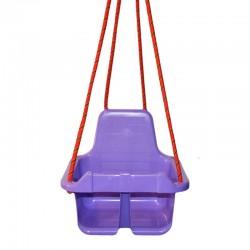 Leagan pentru copii, cu spatar, opritor picioare, 4 corzi 110cm, inele metalice