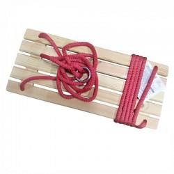 Leagan clasic pentru copii, dreptunghiular, lemn, franghie suspendare, 49.5x22x5cm