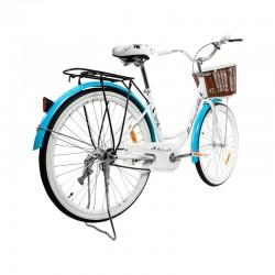 Bicicleta dama, 26 inch, cadru fara bara, otel, cos cumparaturi si motive florale, MalTrack Miejski