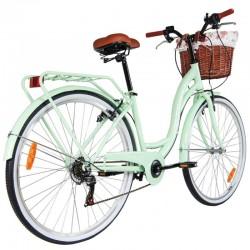 Bicicleta de dama, 28 inch, 6 viteze, cadru otel fara bara, cos ratan