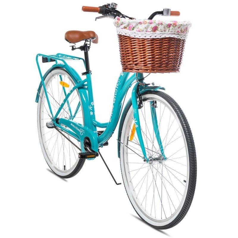 Bicicleta dama MalTrack Dreamer, 28 inch, cadru otel 18 inch, 6 viteze, cos ratan, fara bara