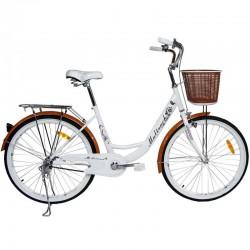 Bicicleta dama, roata 26 inch, cadru otel 17'', frana V-Brake, sa ergonomica, fara bara, cos cumparaturi, MalTrack