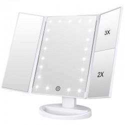 Oglinda cosmetica LED, rotativa, iluminare reglabila, zoom 2x si 3x, alimentare USB si baterii, alba