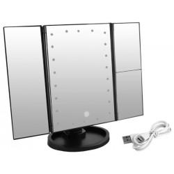 Oglinda cu LED pentru machiaj, buton tactil, 2x si 3x, alimentare USB si baterii, rotire180 grade