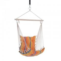 Hamac tip scaun suspendat, sustinere bara lemn cu inele metalice, bumbac, 51x54x95 cm