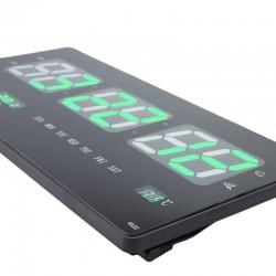 Ceas digital, afisaj LED verde, ora, calendar, temperatura, fixare perete