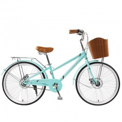 """Bicicleta dama cu cos, roti 24 inch, cadru otel 13"""", frane V-Brake, albastru deschis, Phoenix"""