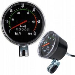 Kilometraj mecanic pentru bicicleta, vitezometru resetabil analog, cablu 86 cm