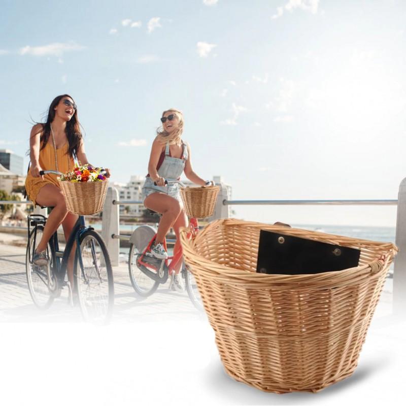 Cos rachita pentru bicicleta, detasabil cu sistem clip on, montare pe ghidon, maro natur