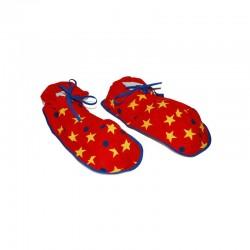 Papuci clown, supradimensionati, model stelute si buline, material moale
